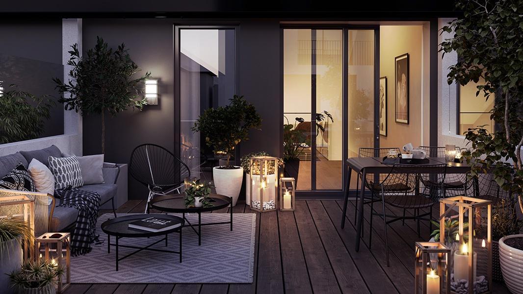 Illustarsjonsbilde av terrasse i bygg B